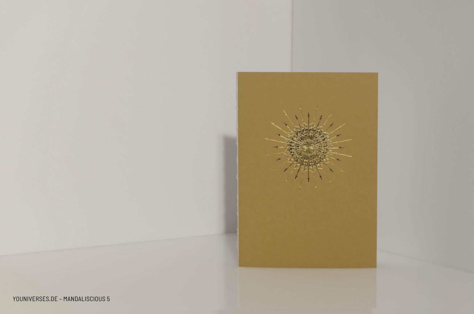 Youniverses, Reihe: mandaliscious Design-N°.: 5, Farben: Schwarz & Gold, Yournal, Journal, Diary, Bulletjournal, Tagebuch, Skizzenbuch, Veredelung, DIY, Handmade, Papeterie.