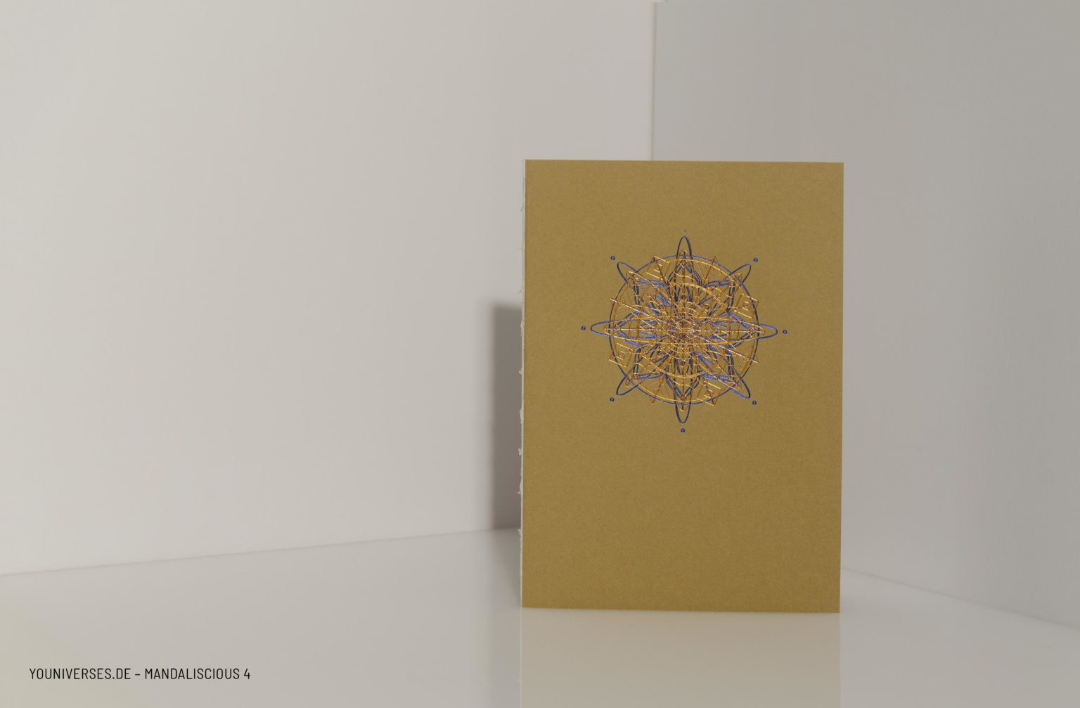 Youniverses, Reihe: mandaliscious Design-N°.: 4 Farben: Kupfer & Blau, Yournal, Journal, Diary, Bulletjournal, Tagebuch, Skizzenbuch, Veredelung, DIY, Handmade, Papeterie.