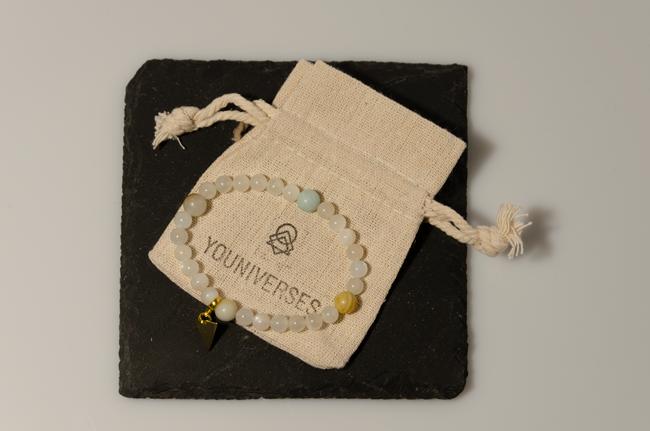 Moonay 2 Amazonit & Mondstein. Menstruationsarmband. Edelsteine und Heilsteine für Frauen.