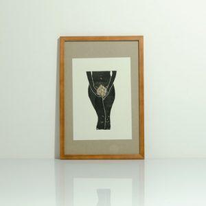 Linoldruck artichoke girl black